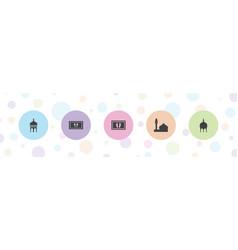 5 arabic icons vector