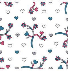 abstract branches with hearts and flowers hand vector image