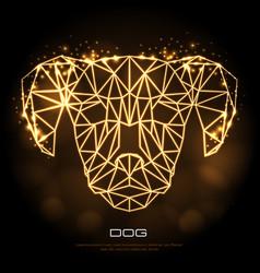 Abstract polygonal tirangle animal dog neon sign vector