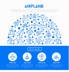 airplane concept in half circle vector image