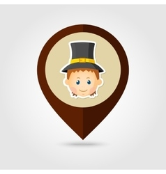 American Pilgrim children mapping pin icon vector image