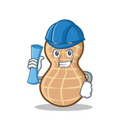 Architect peanut character cartoon style vector