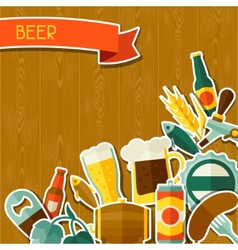 Background design with beer sticker icons and vector image