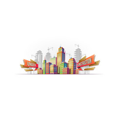 Big city buildings on the background of buildings vector