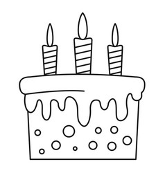 birthday cake icon outline style vector image