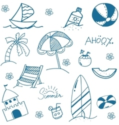 Blue summer doodle image vector