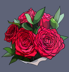 bouquet of five red roses with green leaves vector image