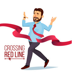 Businessman crossing red ribbon line vector