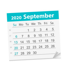 Calendar sheet for month september 2020 vector
