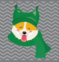 cartoon portrait of a dog in a hat christmas cute vector image