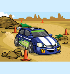 Cartoon rally car drive in the desert vector