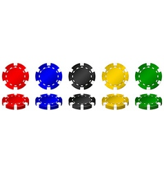 Casino chips in many colors vector image