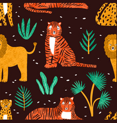childish seamless pattern with funny lions tigers vector image