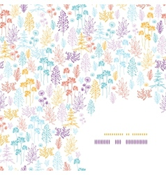 Colorful flowers and plants corner pattern vector image