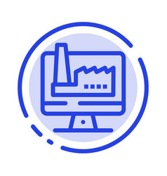 Computer building monitor factory blue dotted vector