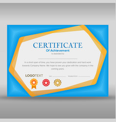 Creative certificate design in blue and yellow vector