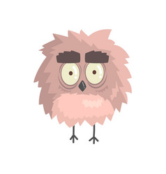 Cute little funny fluffy owlet bird standing vector