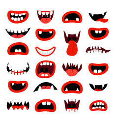 Cute monsters mouth set vector