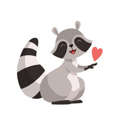 Cute raccoon with red heart funny humanized grey vector