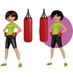 Cute young Indonesian woman boxer vector image