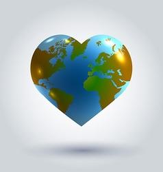 earth in shape heart vector image