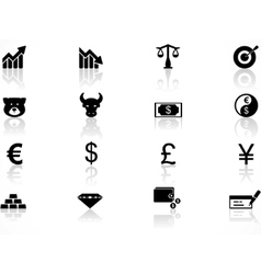 economics icons set vector image