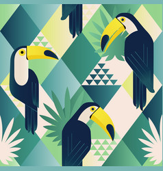 exotic trendy seamless pattern tropical toucan vector image