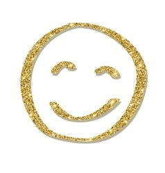 Face with golden glitter smile icon vector