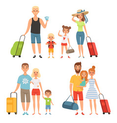 family goes at summer vacations happy family vector image