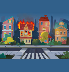 fire city concept flat cartoon vector image