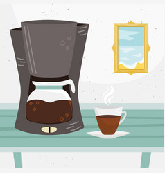 Flat coffee maker and a cup coffee vector