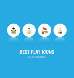 flat icon christian set of building catholic vector image