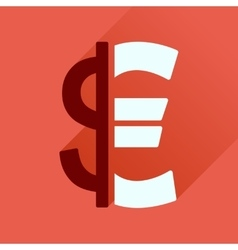 Flat icon with long shadow euro dollar vector