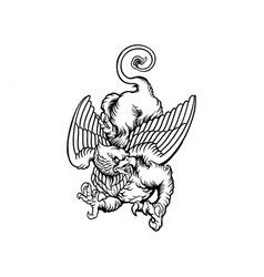 flying griffin clipart silhouette vector image