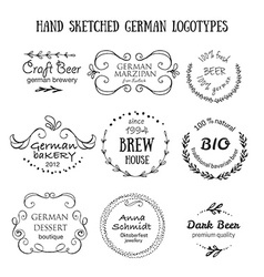 German vintage badges and icons vector image