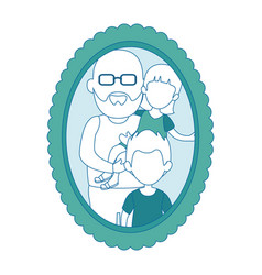 Grandfather with kids icon vector