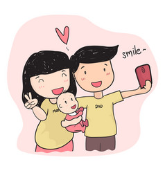 Happy family young parent taking selfie photo vector