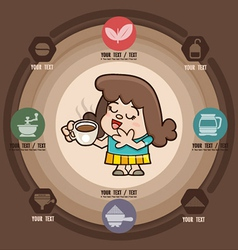 Happy girl with cup of coffee icons vector image