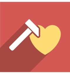 Heart Hammer Flat Long Shadow Square Icon vector