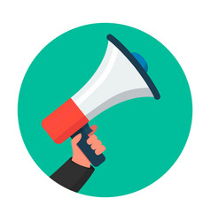 human hand with megaphone in flat style design vector image