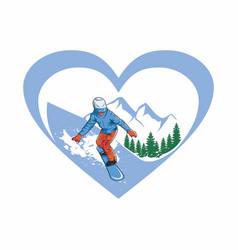 i love ski vector image