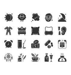 insomnia black silhouette icons set vector image