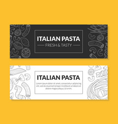 italian pasta fresh and tasty card templates set vector image