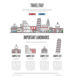 Italy travel infographics in linear style vector