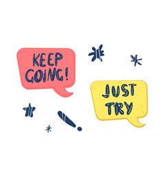 Keep going handwritten creative lettering vector
