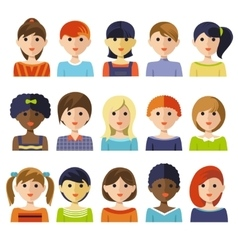 Kids Faces Icon Set vector image