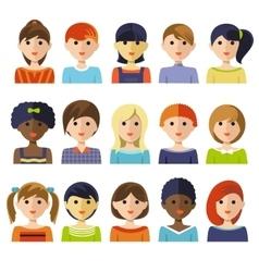 Kids Faces Icon Set vector