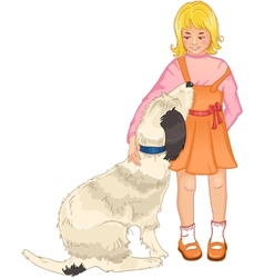 Little girl strokes a dog vector
