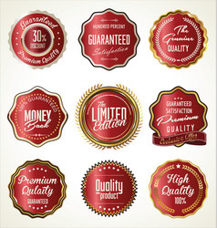 Luxury gold and red premium quality labels vector