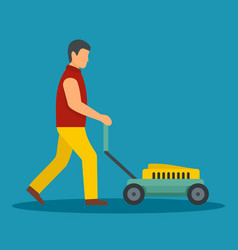 Man move lawn mower icon flat style vector